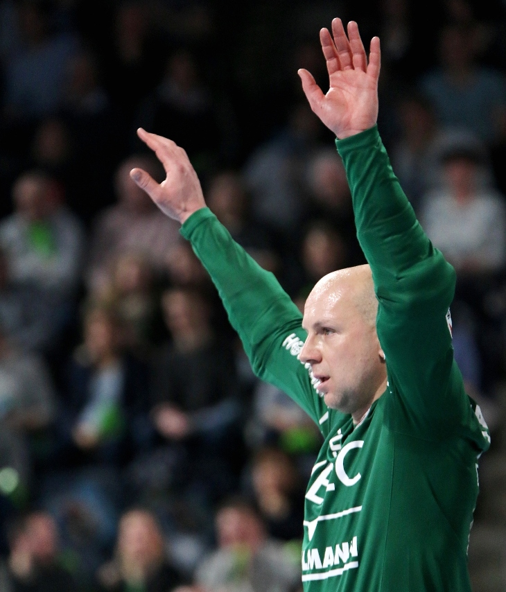 (Foto: HJKrieg, Erlangen): HC-Keeper Gorazd Skof vernagelte in den letzten zehn Minuten sein Tor