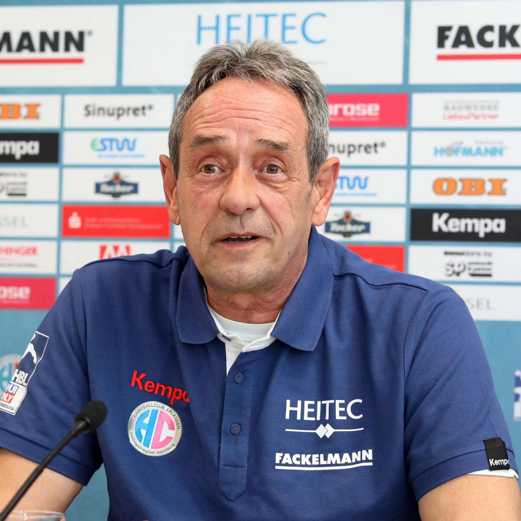 "(Jocki_Foto, Erlangen) HC Erlangen: ""Handballprofessor"" Rolf Brack ist seit heute Interimscoach"