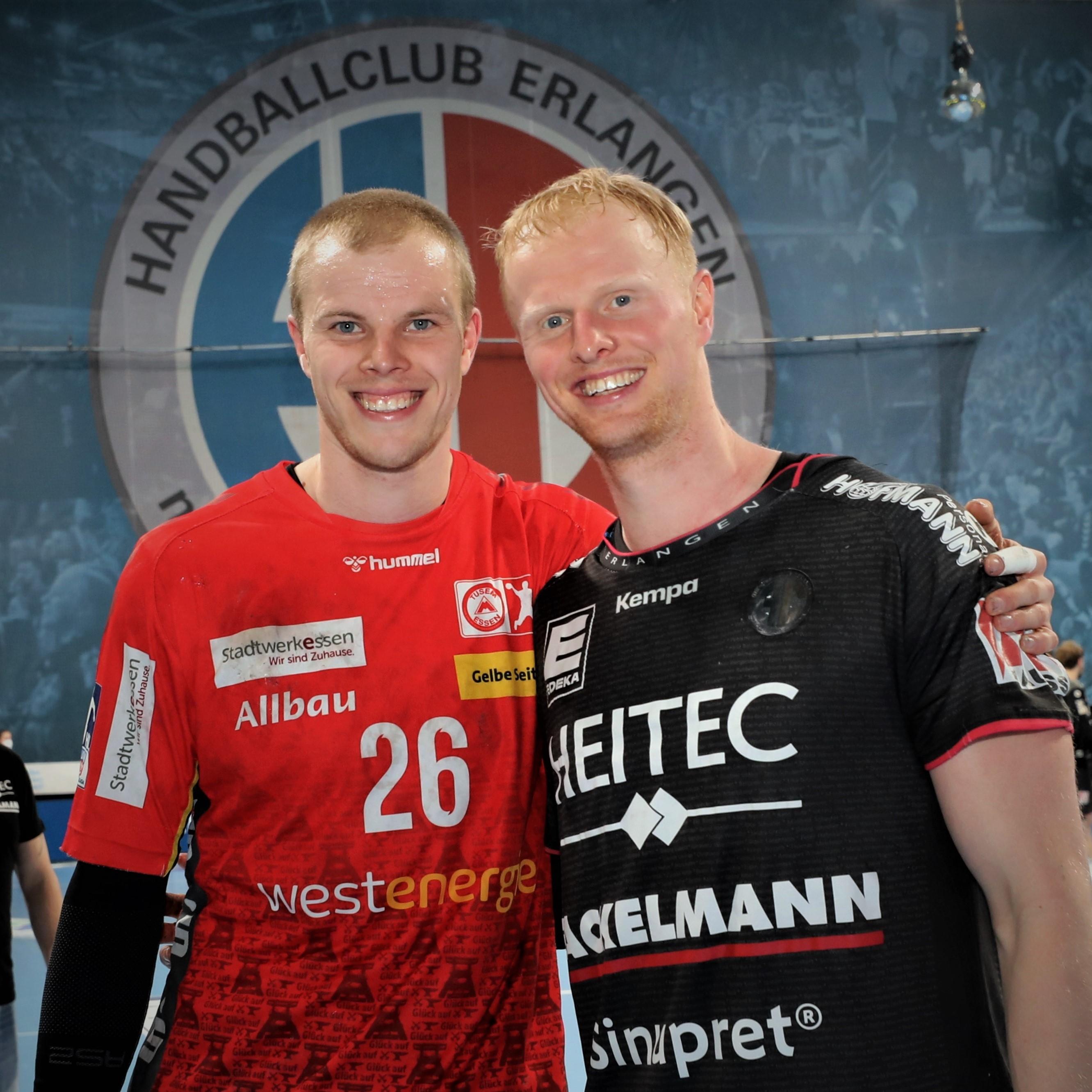 (#Jocki_Foto, Erlangen): Lucas Firnhaber (TuSEM Essen) und sein Bruder Sebastian vom HC Erlangen