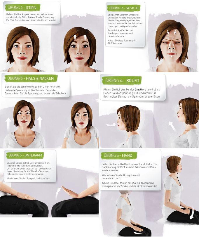 Übungen zur progressiven Muskelentspannung