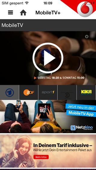 Startseite von Netzkino in der MobileTV-App von Vodafone (iOS-Version)