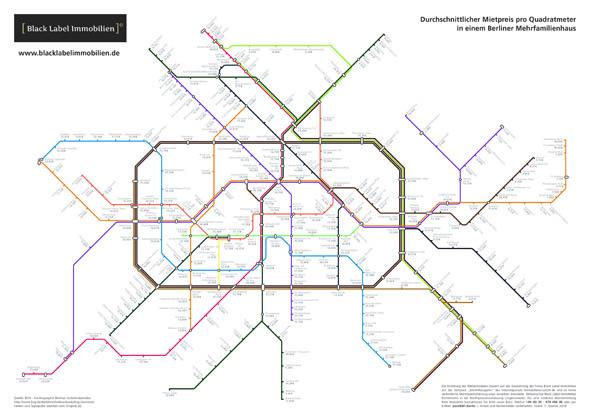 Die Mietpreiskarte von bli zeigt die aktuellen Mieten rund um U- und S-Bahnstationen