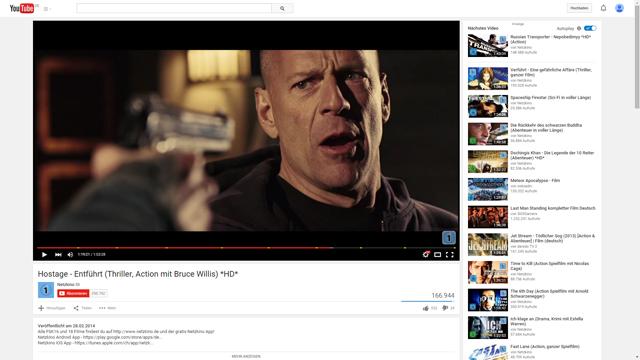 Mit täglich über 250.000 Filmabrufen ist Netzkino der größte deutschsprachige Spielfilmkanal auf YouTube.