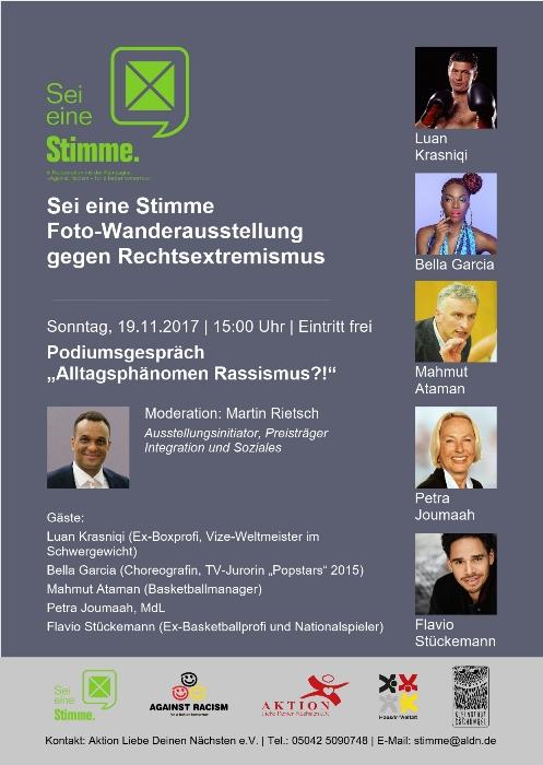 """Prominente Talkrunde zur """"Sei eine Stimme""""-Ausstellung"""