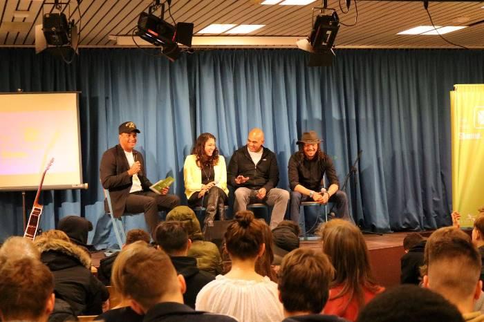 """""""Sei eine Stimme"""" Podium, hier mit Martin Rietsch, J.-Ann Wilson, Rigobert Gruber und Marvin Mc Kay"""