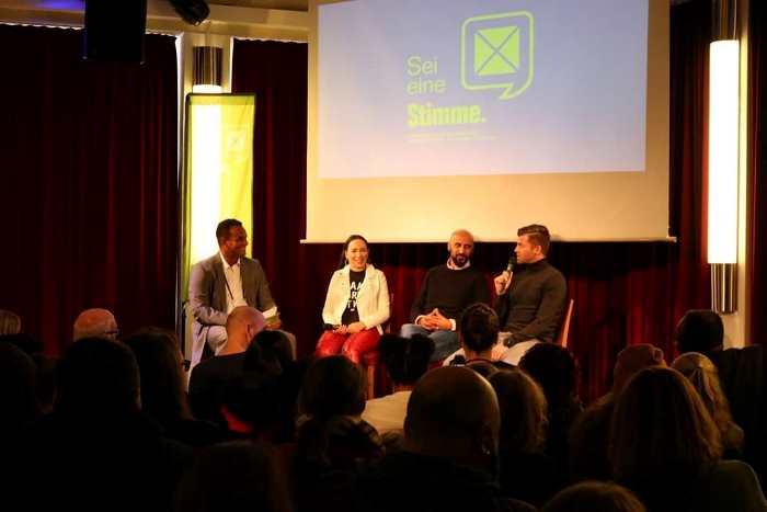 """""""Sei eine Stimme"""" Podium, hier mit Martin Rietsch, Laura Neels, Murat Salar und Holger Wehlage"""